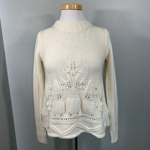 Anthropologie Rosie Netra Cream Wool Knit Sweater